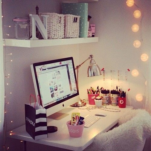 Adorable Diy Home Office Decor Girly Tumblr Room Makeup organizer