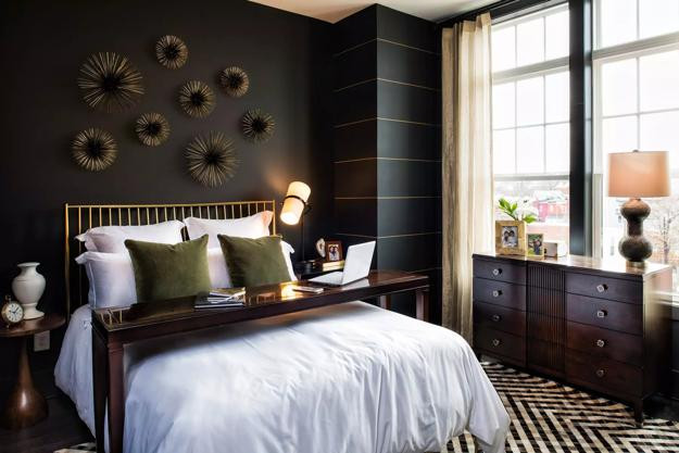 Alluring Bedroom Designs Dark Wall Bedroom Decorating with Black Wallpaper 2 Modern Wall