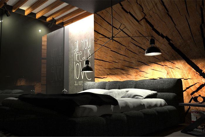Alluring Bedroom Designs Dark Wall Black Bedroom with Wood Wall Decor by Oes Architekci