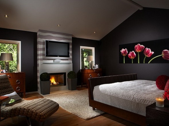 Alluring Bedroom Designs Dark Wall Romantic Master Bedroom Ideas with Flowers Wall Mural