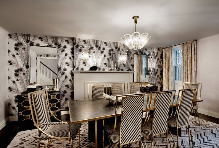 Black and Gold Dining Room Ideas Black and White Dining Chairs Hollywood Regency Dining