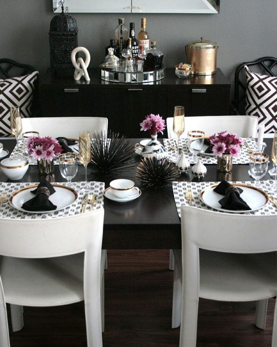 Black and Gold Dining Room Ideas Coastal Glam Dining Room