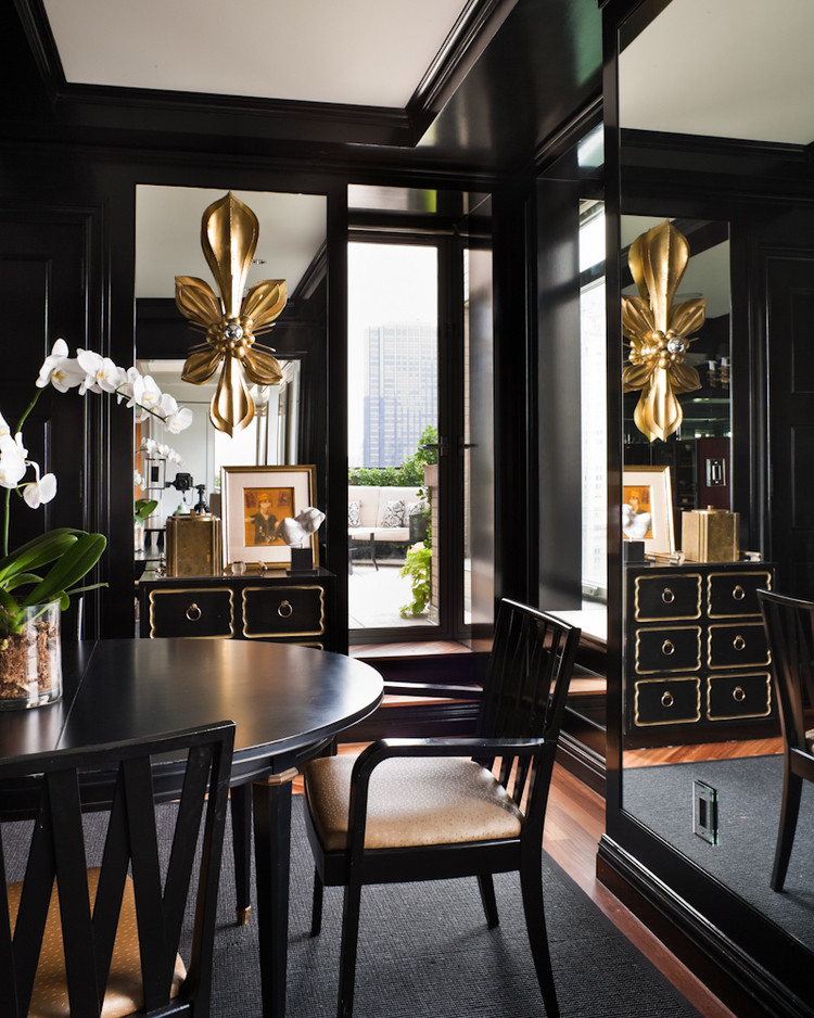 Black and Gold Dining Room Ideas Dining In Black and Gold Interiors by Color