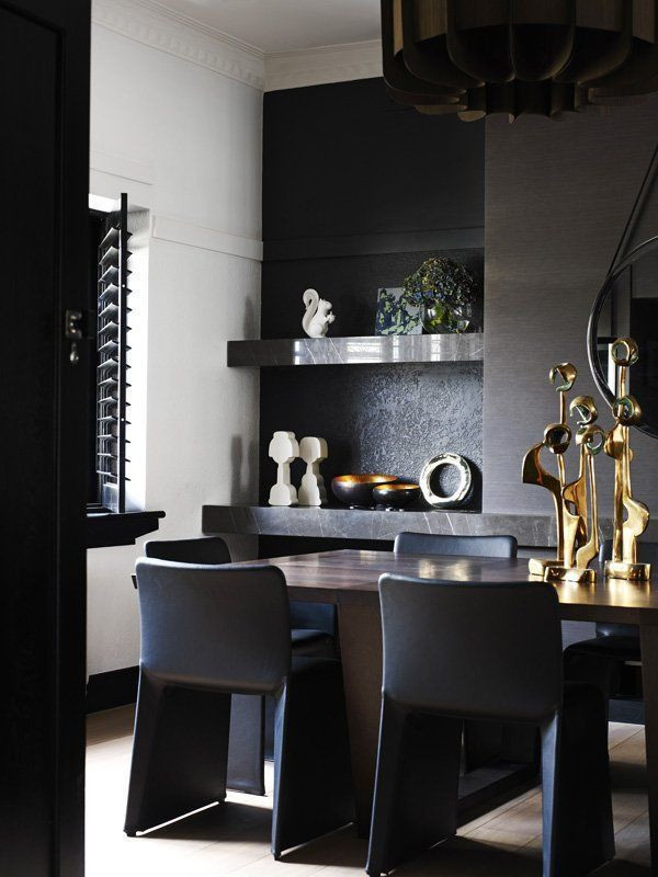 Black and Gold Dining Room Ideas Impressive Black Interior Design with Gold and orange