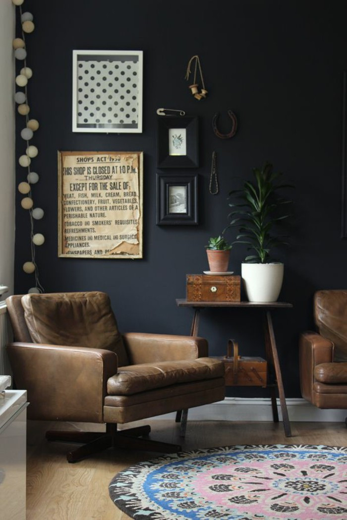 Black Living Room Designs 70 Walls Painting Ideas In Dark Shades