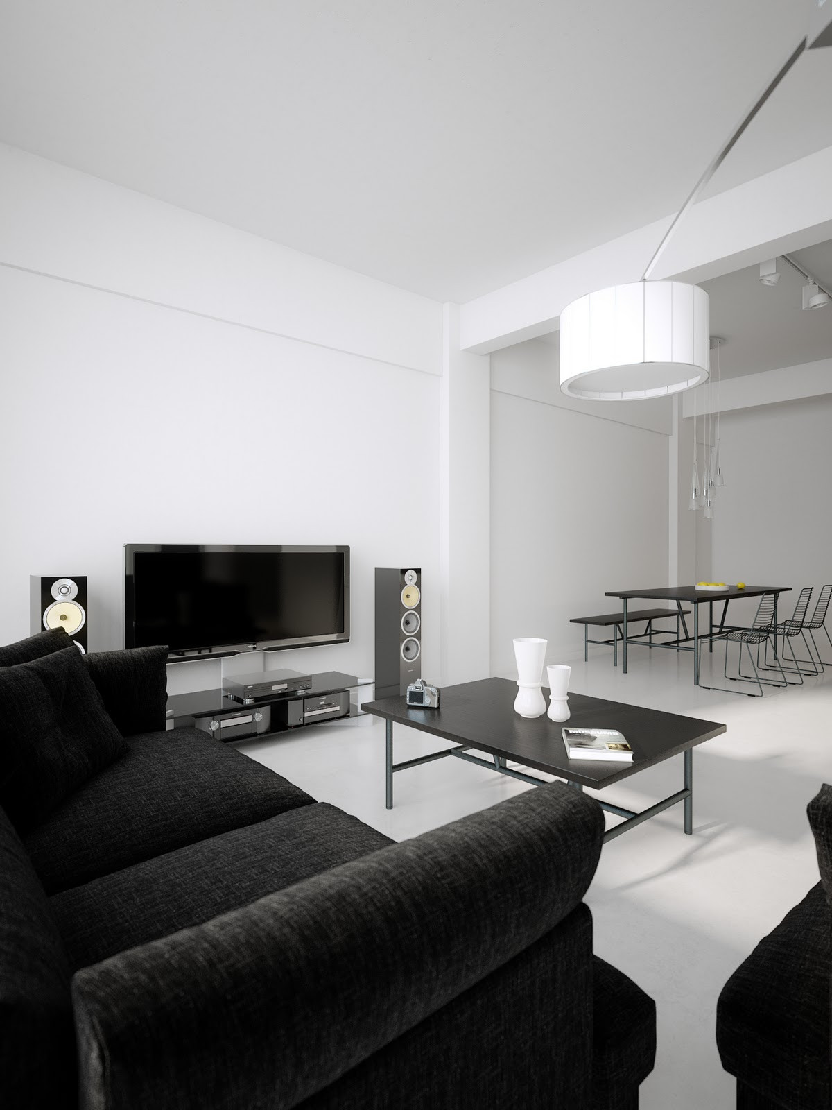Black Living Room Designs Modern Minimalist Black and White Lofts