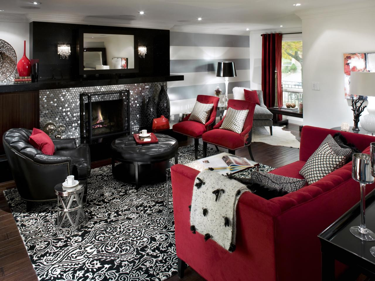 Black Living Room Designs Retro Red Black and White Family Room