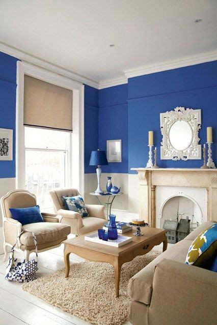 Blue Living Room Ideas Bright Blue Living Room