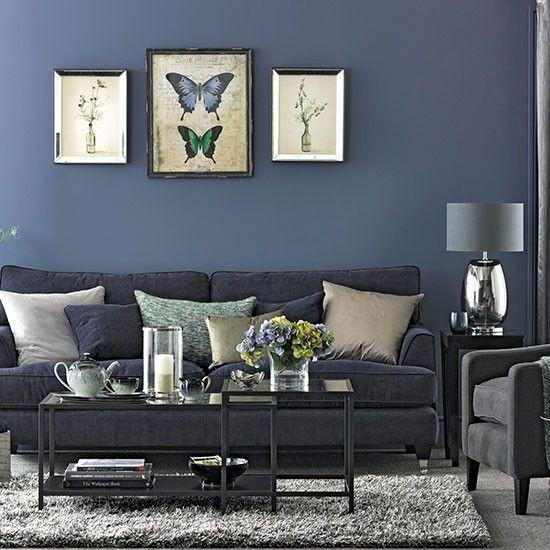 Blue Living Room Ideas Denim Blue and Grey Living Room