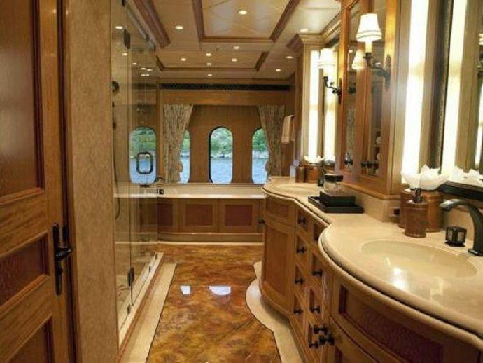 Breathtaking Bathrooms Design Brown Marble Floor Designs