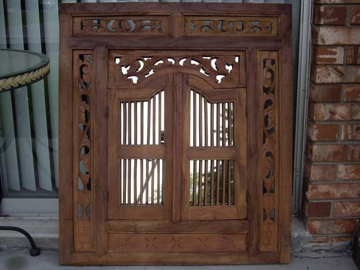 Carved Wood Window Ideas Vintage Carved Wood Shutter Wall Hanging Mirror Home