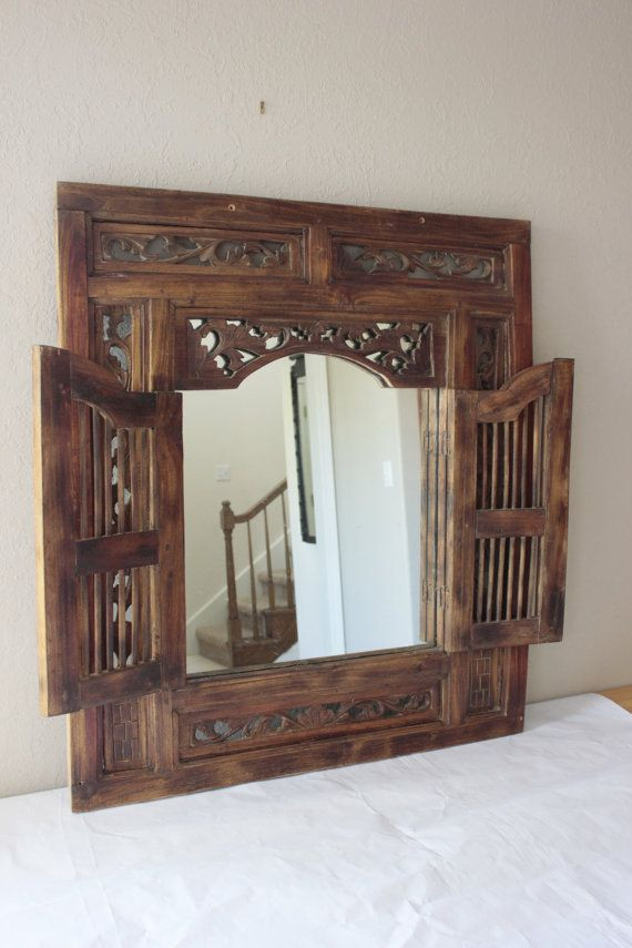 Carved Wood Window Ideas Vintage Wood Carved Window Mirror by Savvyvintageboutique