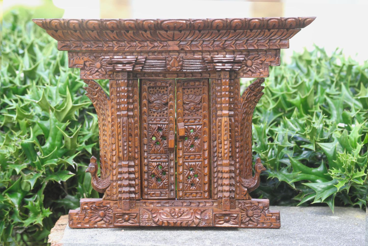 Carved Wood Window Ideas Wooden Carved Door with Side Peacock Nepali Wooden