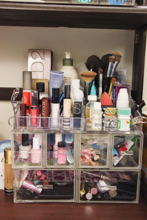 Dorm Room organization Makeup Storage Beauty and Paper On Pinterest