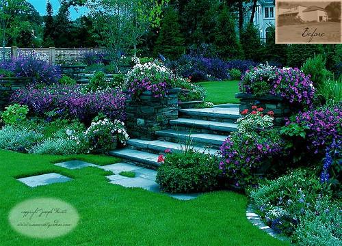 Elegant Backyard Design Elegant Garden Steps & Lush Perennial Plantings