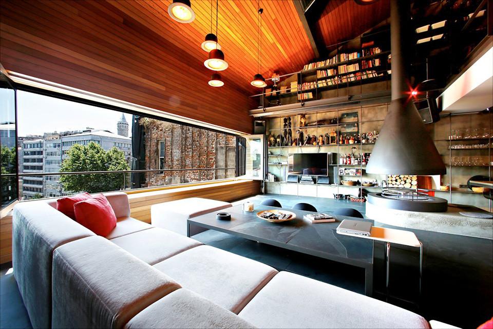 Elegant Modern attic Ideas Contemporary Rustic Karakoy Loft Overlooks Modern istanbul