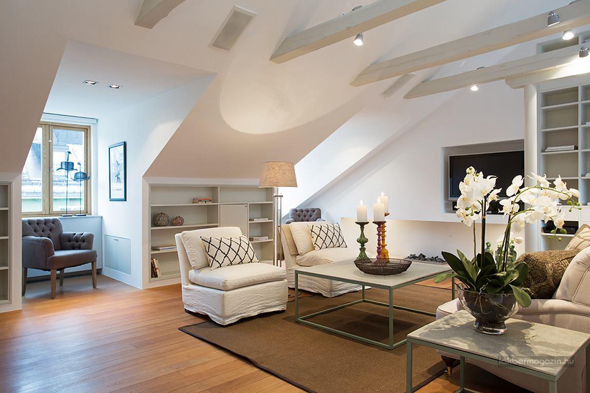 Elegant Modern attic Ideas Elegáns Modern Tágas Tetőtéri Lakás Lakberendezés