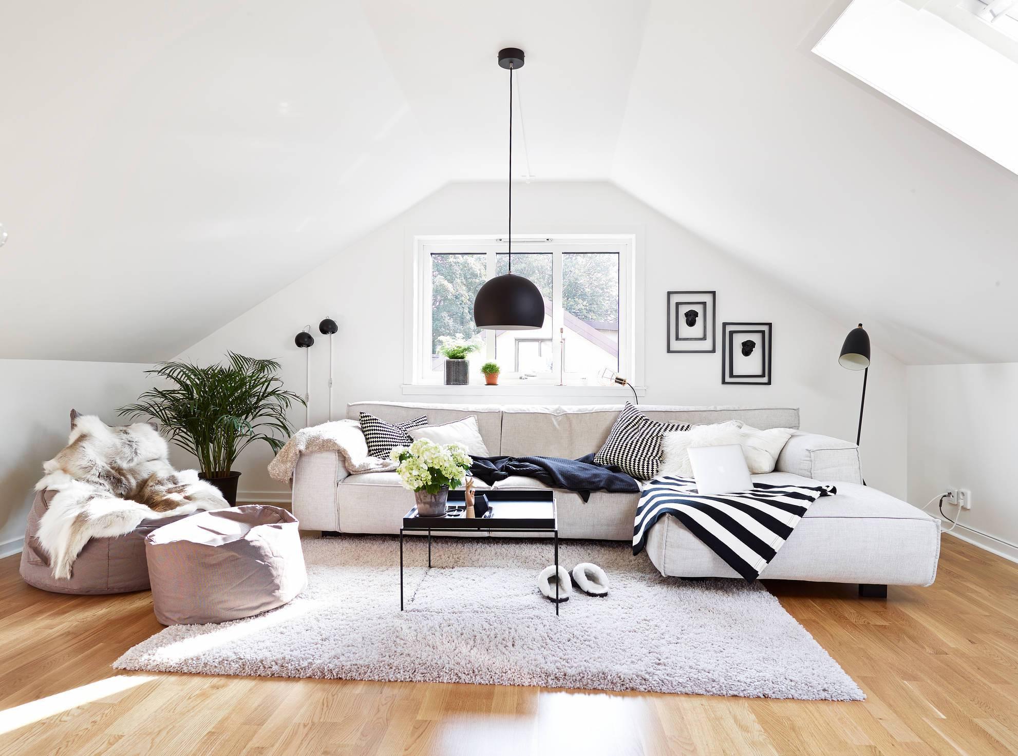 Elegant Modern attic Ideas White attic Living Room
