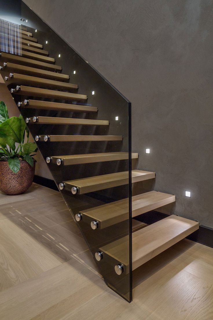 Glass Stairs Ideas Interior Contemporary Floating Wooden Sttaircase Idea