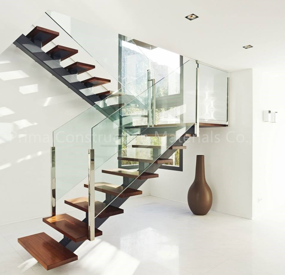 Glass Stairs Ideas Open Riser Steel Beam U Shaped Wood Staircase with Glass