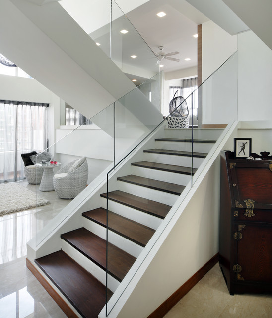 Glass Stairs Ideas Pandan Valley Condo Modern Staircase Other Metro