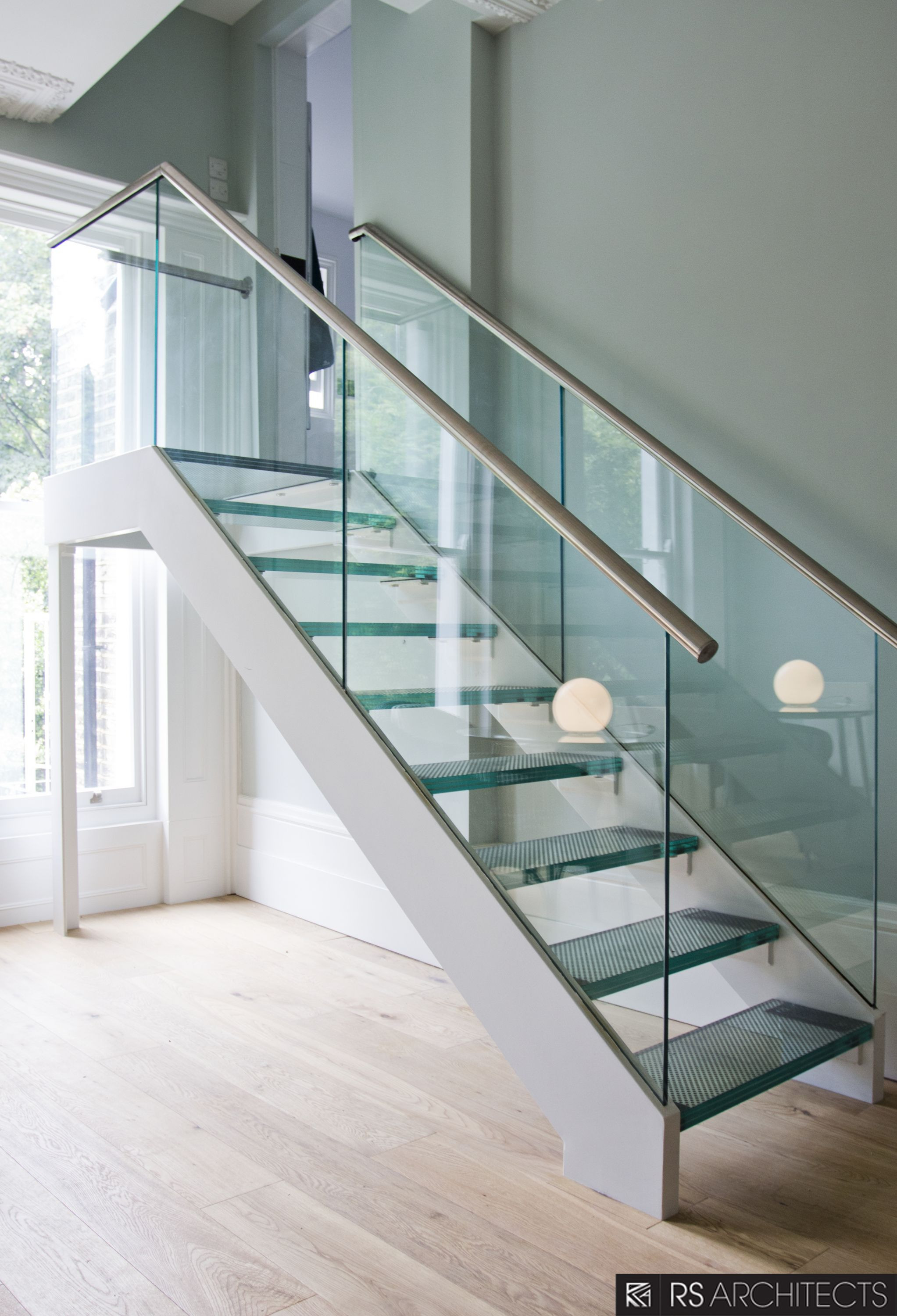 Glass Stairs Ideas Que Double Chrome Handrail with Glass Balustrade