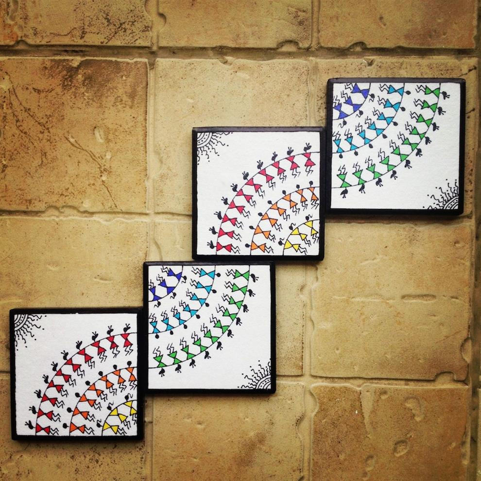 Handmade Wall Decor Colourful Handmade Handpainted Warli Wall Art Set Of 4