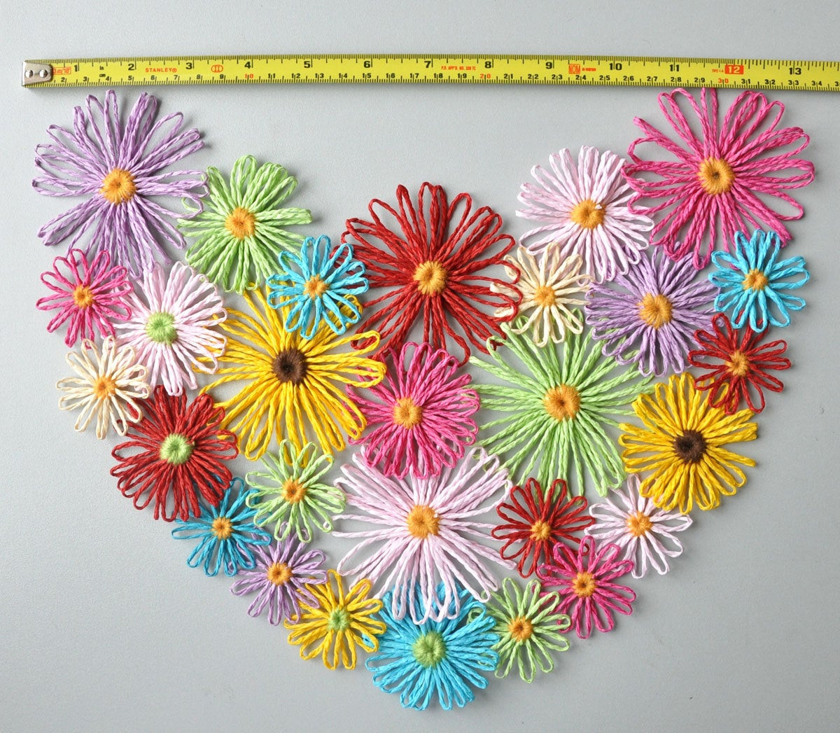 Handmade Wall Decor Floral Heart Handmade Multicolor Loom Flowers Wall Decor