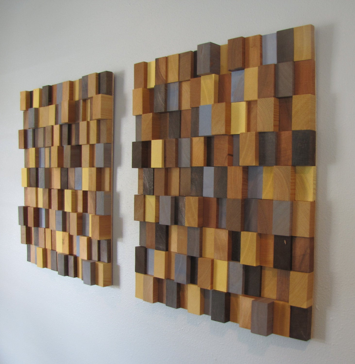 Handmade Wall Decor Handmade 3d Wooden Block Modern Wall Art Pair