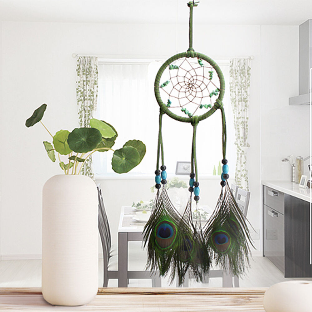 Handmade Wall Decor Handmade Dream Catcher Peacock Feather Home Wall Hanging