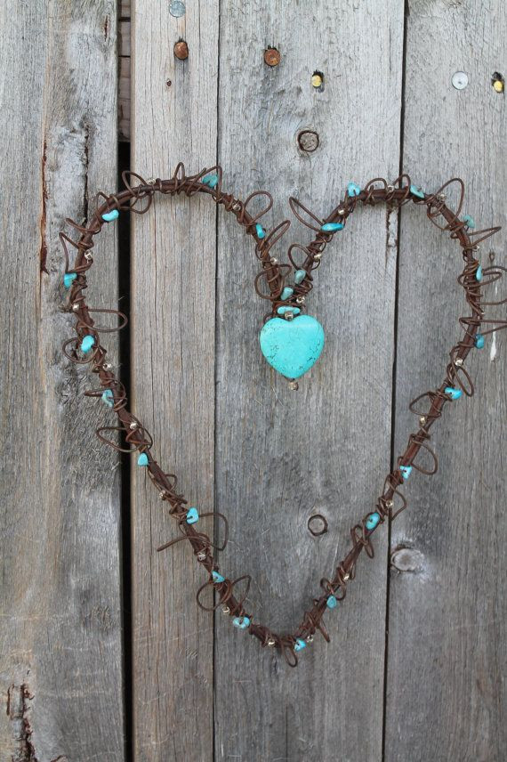 Handmade Wall Decor Handmade Rusted Wire Heart Wall Decor with Turquoise Heart