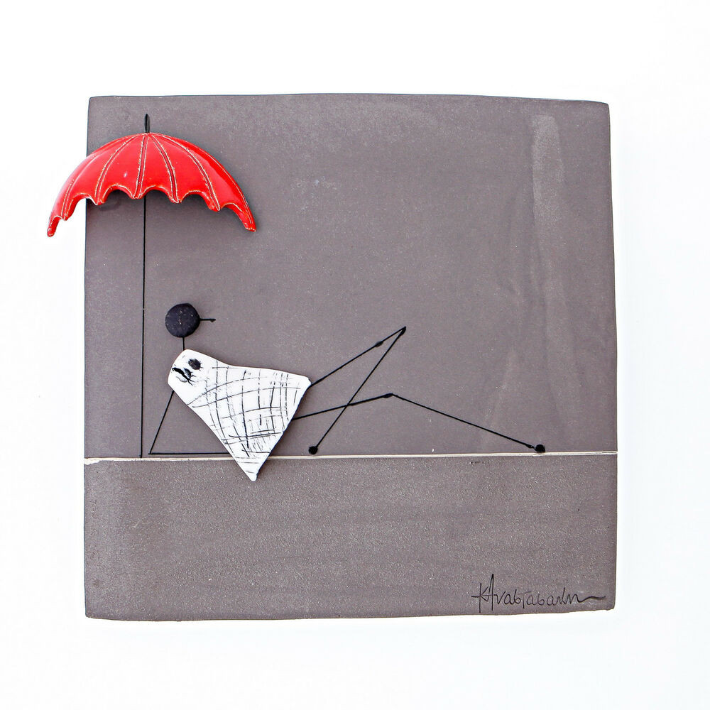Handmade Wall Decor Modern Wall Art Decor Plaque Girl with Umbrella
