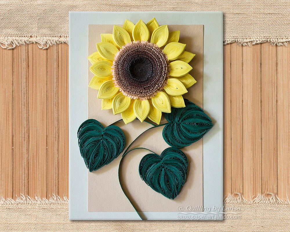 Handmade Wall Decor original Paper Quilling Wall Art the Sunflower Handmade