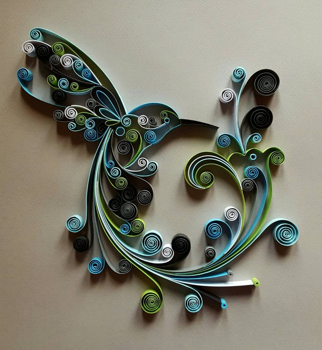 Handmade Wall Decor Quilled Paper Art Hummingbird Handmade Artwork