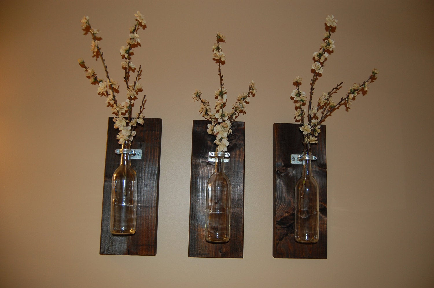Handmade Wall Decor Wine Bottle Wall Art Wall Vase Handmade by Bloominghomedesigns