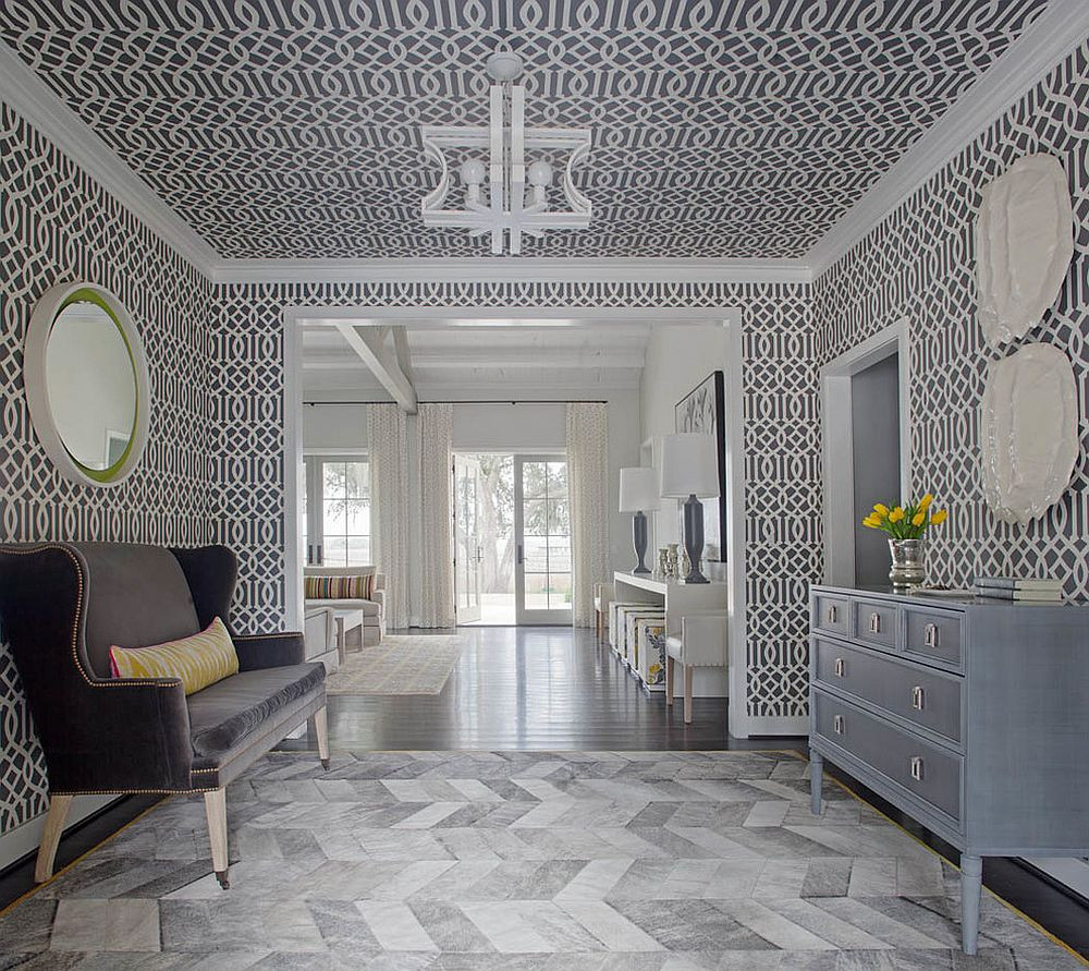 Modern Foyer Ideas 25 Gorgeous Entryways Clad In Wallpaper