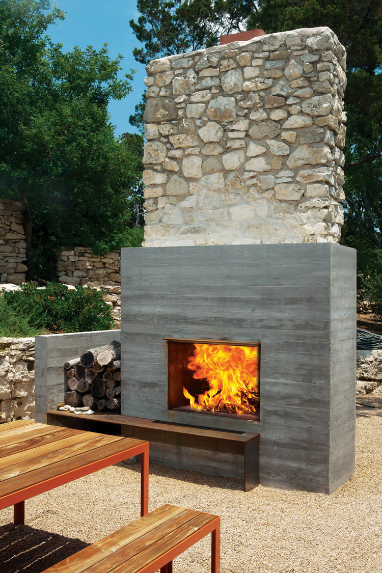 Outdoor Fireplace Design Modern Fireplaces Rustic Refined Studio Mm Architect