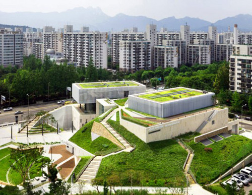 Rooftop Garden Buk Seoul Museum Rooftop Gardens by Samoo Architects and