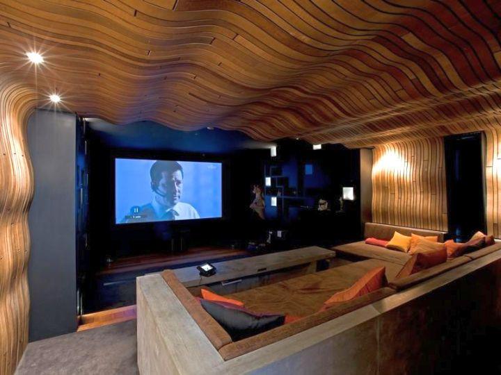 Unique Ceiling Design Entertainment Room with Unique Ceiling Design