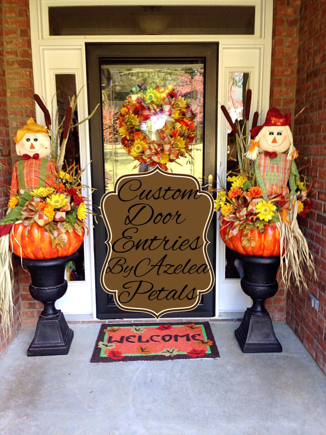 Unique Door Decoration Custom Fall Door Entrance Decor Scarecrow Front Door