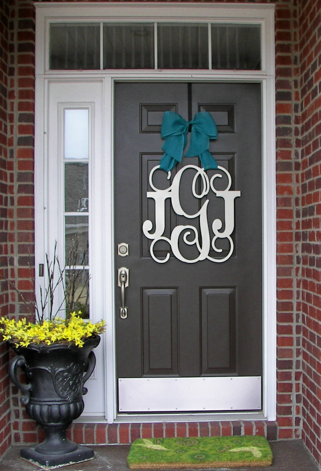 Unique Door Decoration Custom Monogram Door Hanger Burlap Bow House Warming Front