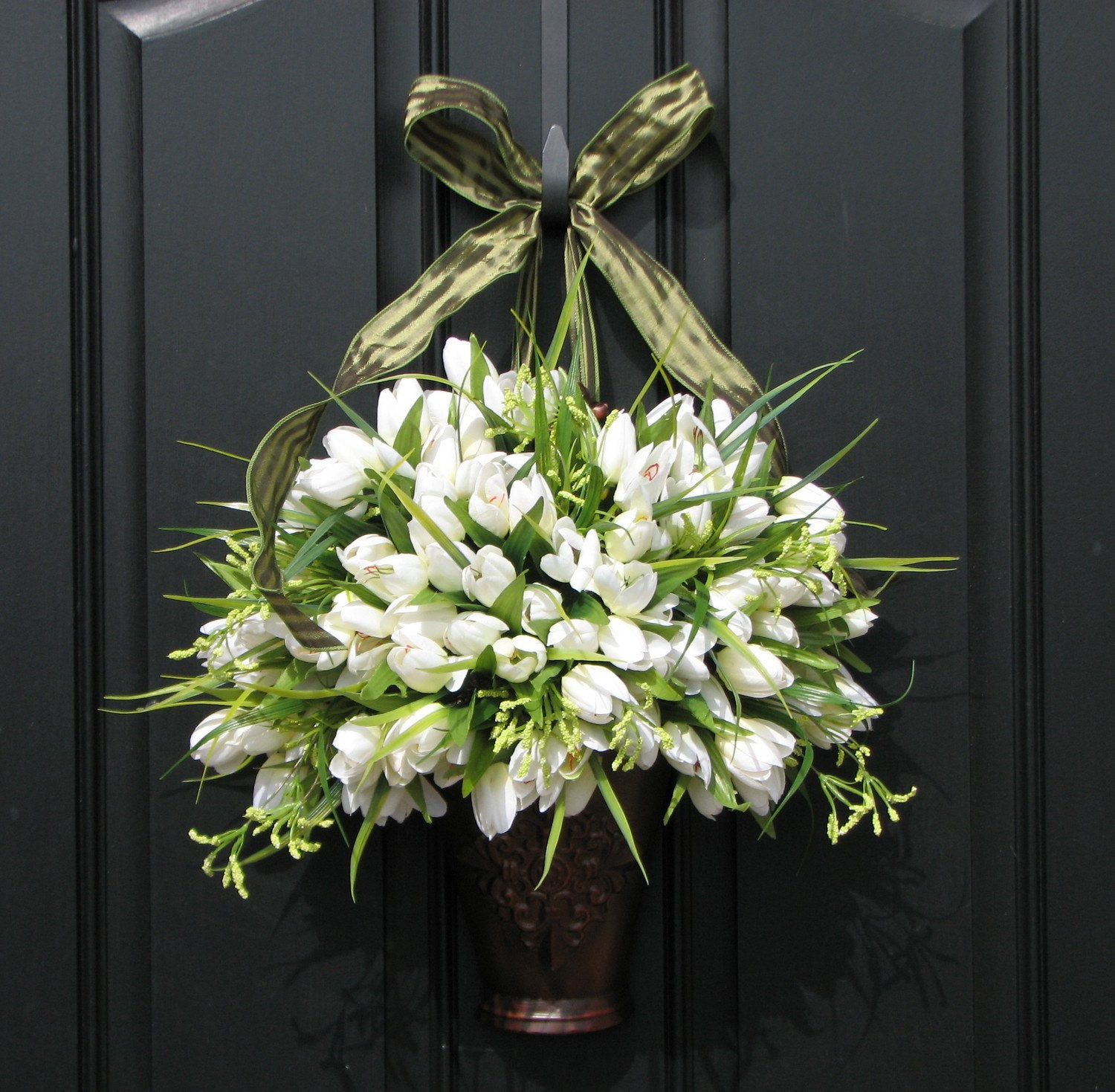 Unique Door Decoration Spring Tulips Farmhouse Tulips Front Door Decor