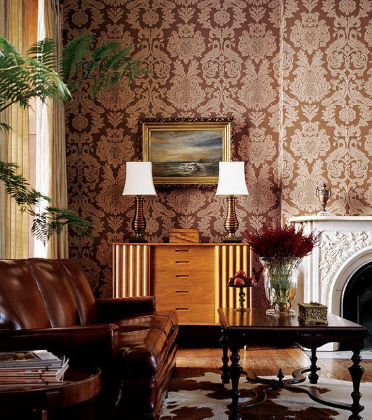 Wallpaper Decoration for Living Room 30 Elegant and Chic Living Rooms with Damask Wallpaper