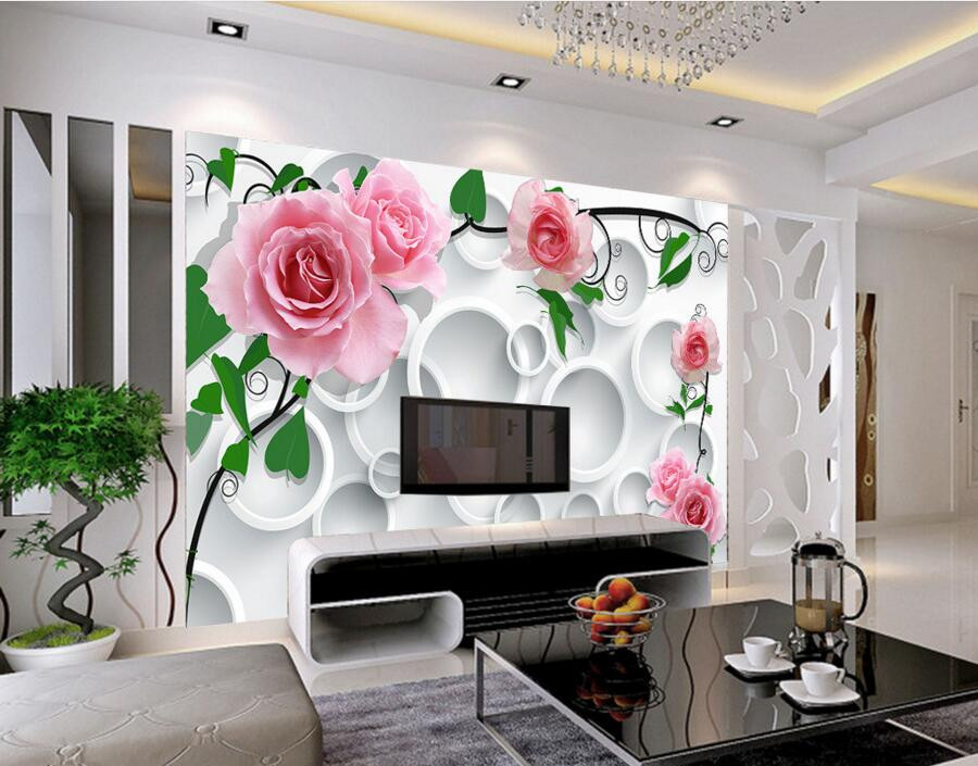 Wallpaper Decoration for Living Room Custom Modern Wallpaper Design Circle Background Rose