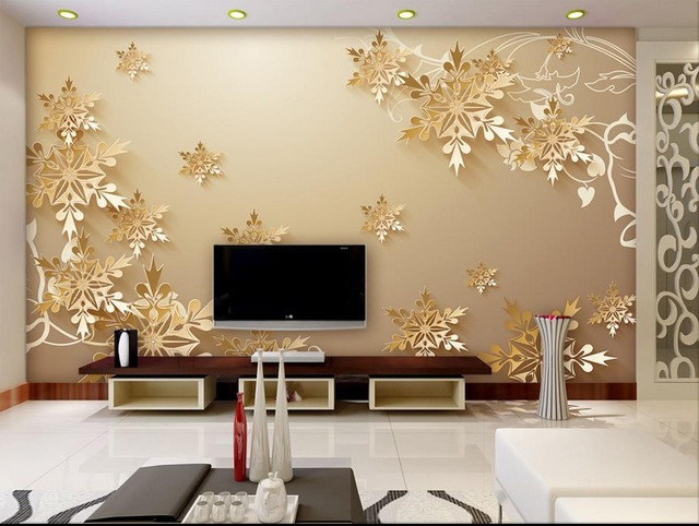 Wallpaper Decoration for Living Room Golden Snowflakes 3d Room Wallpaper Beautiful Bedroom