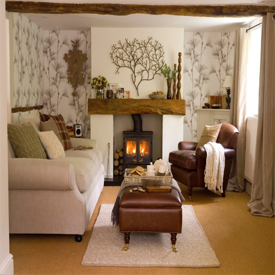 Wallpaper Decoration for Living Room Living Room with Woodland Wallpaper
