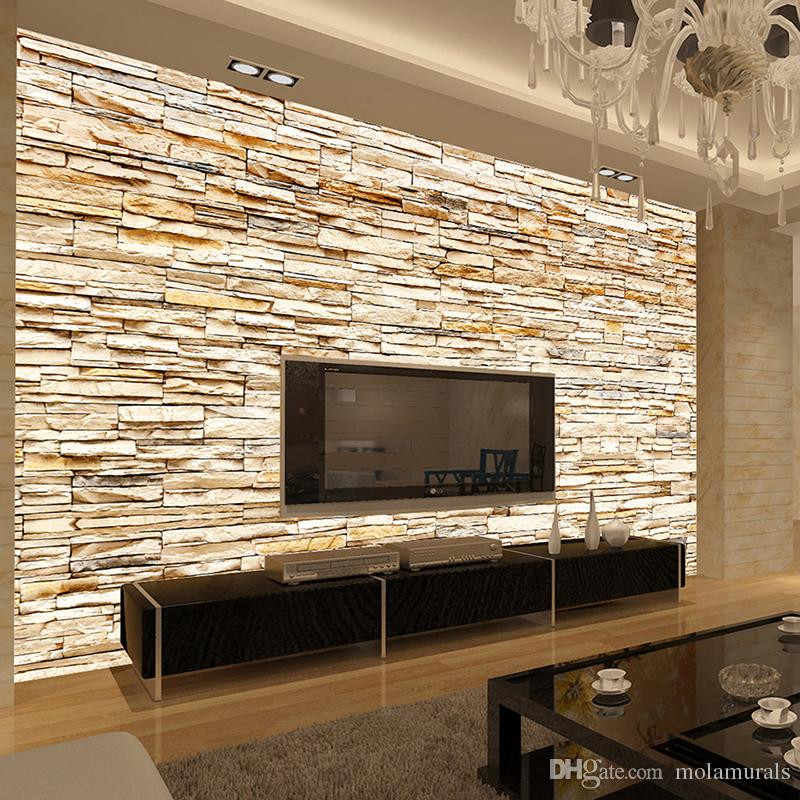 Wallpaper Decoration for Living Room Non Woven Fashion 3d Stone Bricks Wallpaper Mural for