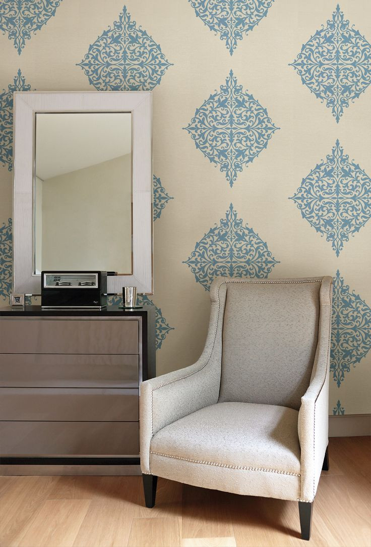 Wallpaper Decoration for Living Room Turquoise Feature Wall with Modern Medallion Wallpaper
