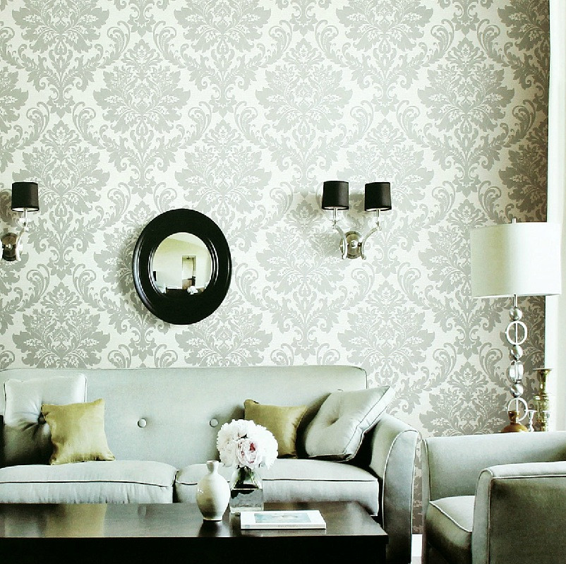 Wallpaper Decoration for Living Room White Gray Fleur De Lis Wallpaper Living Room