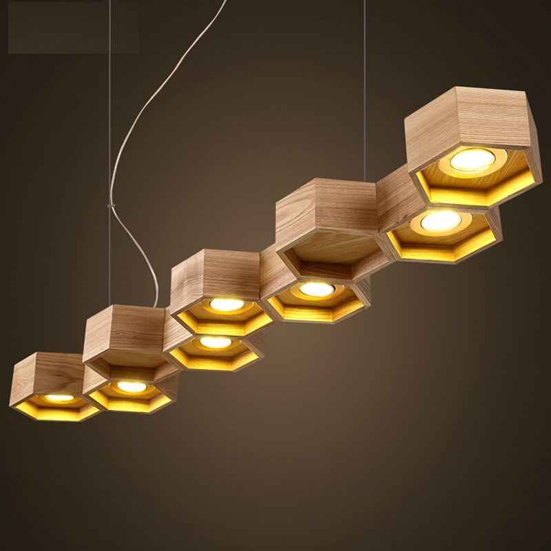 Wooden Lamp Designs Slatted Wooden Honey B Structure Pilke Series Pendant